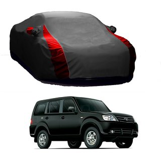 InTrend UV Resistant Car Cover For Nissan Go (Designer Grey  Red )
