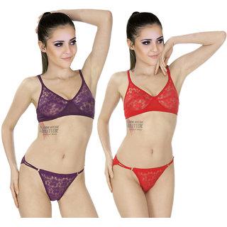 506b6dc19c Buy SK Dreams Multi Color Lycra Set Of 2 Women S Bra   Panty Sets Combo  Online - Get 78% Off