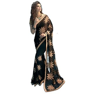 Meia Black Georgette Embroidered Saree With Blouse