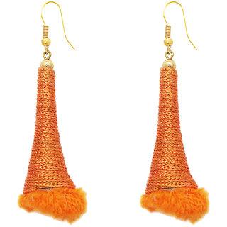 The99Jewel by JewelMaze Gold Plated Zinc Alloy Orange Thread Hanging Earrings-FAC0380