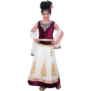 9a968c9e8f Lehenga Choli Dress for girls Kids - Velvet Net - Embroidered - Partywear -  Readymade - 3 - 8 Years