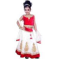 Lehenga Choli Dress for girls Kids - Velvet Net - Embroidered - Partywear - Readymade - 3 - 8 Years