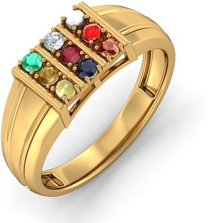 RM Jewellers 92.5 Sterling Silver American Diamond Stylish Navratna Ring For Men
