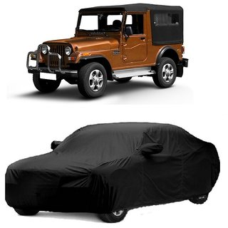 SpeedGlorY Water Resistant  Car Cover For Mahindra Jeep (Black With Mirror )
