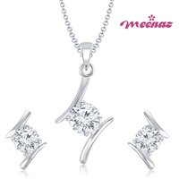 MEENAZ ANGELIC RHODIUM PLATED SOLITAIRE PENDENT SET PT111