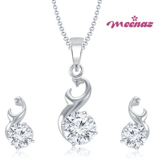 MEENAZ GLAM STAR RHODIUM PLATED SOLITAIRE PENDENT SET PT110