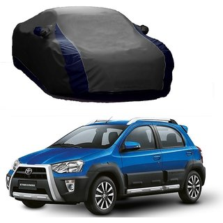 AutoBurn UV Resistant Car Cover For Toyota Etios (Designer Grey  Blue )