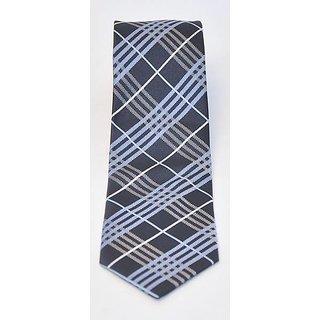 Zeenaa Handmade Checks Tie - Navy Blue 2