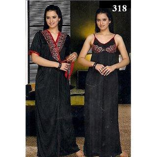 Galaxy Night Wear 2pc Nighty  Over Coat Sexy 318 Sleep Wear Set for Women Babydoll Slip Gown  Robe Set Gurlz