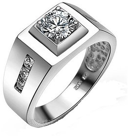 Rm Jewellers 92.5 Sterling Silver American Diamond Stylish Brilliant Ring For Men