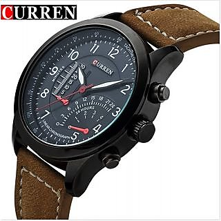 Curren Round Dial Black Leather Quartz Watch For Men