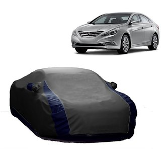 DrivingAID All Weather  Car Cover For Hyundai Verna Fluidic 4S (Designer Grey  Blue )