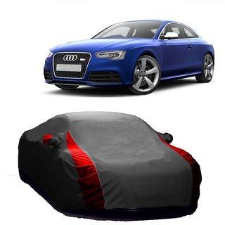 RideZ UV Resistant Car Cover For Hyundai Santro (Designer Grey  Red )