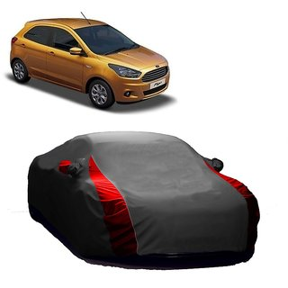 RideZ UV Resistant Car Cover For Ford Fiesta (Designer Grey  Red )