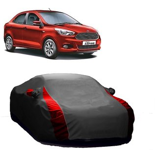 DrivingAID All Weather  Car Cover For Ford Figo (Designer Grey  Red )