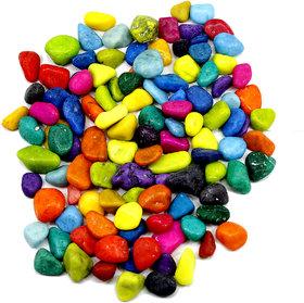 Frabjous Multi Color Solid Aquarium Pebbles(1 Kg)