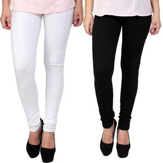 KRISO White and Black Leggings For Girls Pack of 2