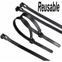 100xNylon Releasable Reusable Zip Tie Loop Ties Wire Cable Fastenerh