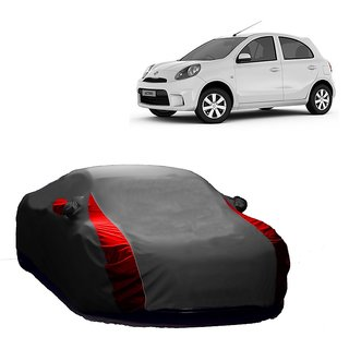 Bull Rider Water Resistant  Car Cover For Fiat Punto (Designer Grey  Red )