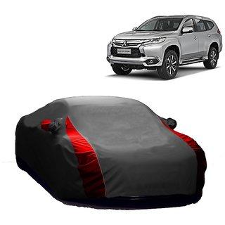 MotRoX UV Resistant Car Cover For Toyota Qualis (Designer Grey  Red )