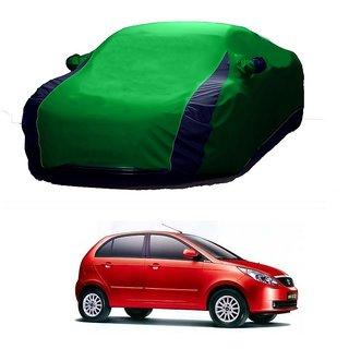 RideZ UV Resistant Car Cover For Tata Indigo CS (Designer Green  Blue )