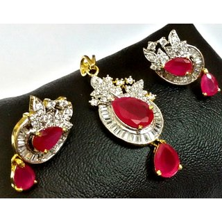 Online american diamond pendant set with ruby prices shopclues india american diamond pendant set with ruby aloadofball Image collections