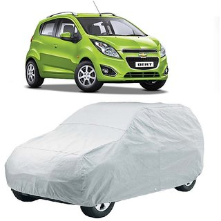 AutoBurn Water Resistant  Car Cover For Chevrolet Beat 2015 (New Model) (Silver Without Mirror )