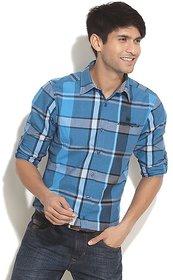 Numero Uno Modern Blue Checkered Shirt
