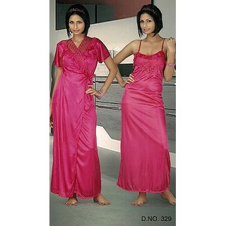 8444967bb689 Galaxy Night Wear 2pc Nighty Over Coat Sexy 329 Hot Pink Sleep Wear Set for  Women