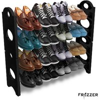 Frazzer Stackable Shoe Rack Storage 12 Pair (4 Layer) with 4 shoe bags free
