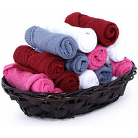 Bpitch Cotton Face Towels (Set of 15) (26X26cm) - Mix Colours - 350 Gsm