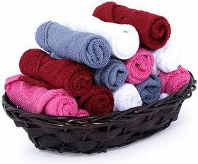 Bpitch Cotton Face Towels (Set of 15) (26X26cm) - Mix Colours - 350 Gsm
