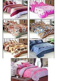 K Decor Multicolor Polycotton ( 7 Double Bedsheets + 14 Pillow Covers )