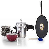 Mahavir Diamond Pressure Cooker And Non-Stick Combo