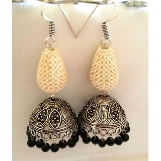 Silver Tokri Puwai Jhumkas With Black Beads
