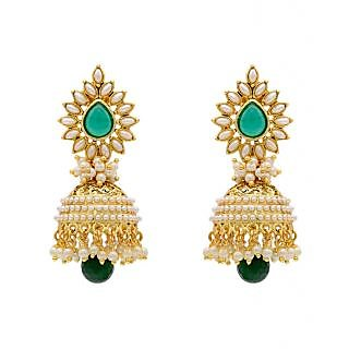 Jewels Capital Exclusive Green White Earings Set /S 1448