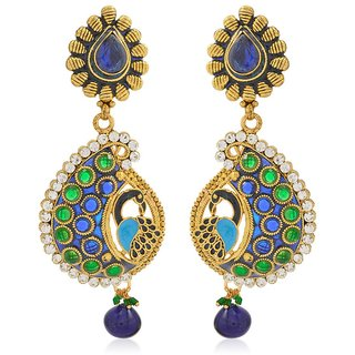 Jewels Capital Exclusive Blue Green White Multi Color Earrings Set /S 1453