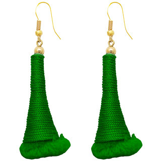The99Jewel by JewelMaze Gold Plated Green Thread Zinc Alloy Hanging Earrings-FAC0382