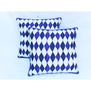 Rib Cushion Cover blue and white(2 pcs set)