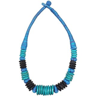 Choker style blue and black colored necklace for women with small Beads