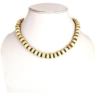 White Wood Tibet Style Beads Linked Necklace