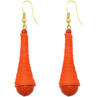 The99Jewel by JewelMaze Orange Thread Beads Zinc Alloy Gold Plated Hanging Earrings-FAC0388