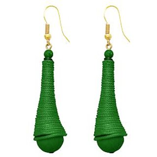 The99Jewel by JewelMaze Gold Plated Green Thread Beads Zinc Alloy Hanging Earrings-FAC0389