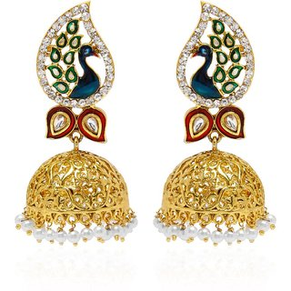 Jewels Capital Exclusive Golden Green White Multi Color Earrings Set /S 1484