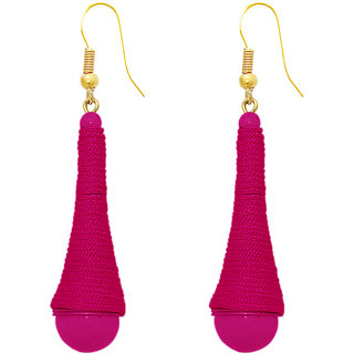 The99Jewel by JewelMaze Pink Thread Beads Zinc Alloy Gold Plated Hanging Earrings-FAC0390