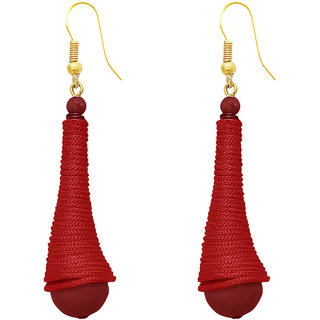 The99Jewel by JewelMaze Gold Plated Zinc Alloy Maroon Thread Beads Hanging Earrings-FAC0393