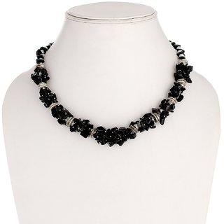 Ladies Jewelry Black Chip Stone necklace