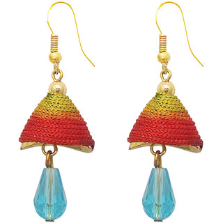 The99Jewel by JewelMaze Zinc Alloy Gold Plated Multicolour Thread Drop Jhumki Earrings-FAC0404