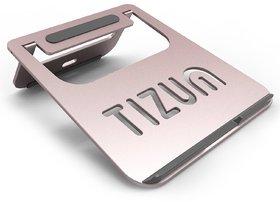 TIZUM Anodized Aluminum Lightweight Ergonomic, Air Vented Multi-Function Folding Portable Laptop Stand (Rose Gold)