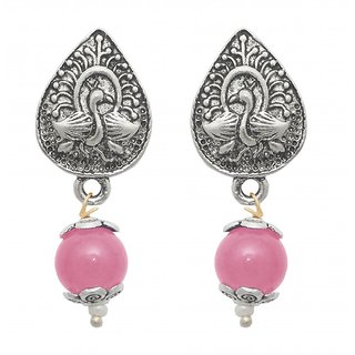 The99Jewel by JewelMaze Silver Plated Zinc Alloy Pink Peral Drop Earrings-FAC0434